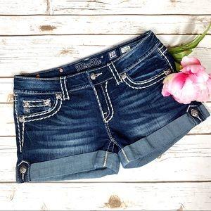 Miss Me Dark Wash Distressed Jean Shorts Excellent